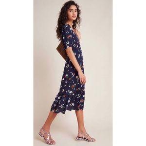 Anthropologie Maeve Eudora Floral Navy Midi Dress